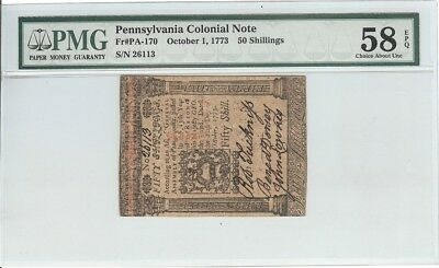 U.S.A. Pennsylvania Colonial Currency PA-170 50 Shillings 1 Oct 1773 PMG 58EPQ