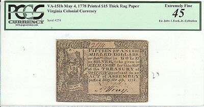 U.S.A. Virginia Colonial Currency VA-151b $15 May 4th 1778 PCGS 45