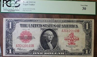 1923 One Dollar Legal Tender Note Red Seal United States Note PCGS VF 30 FR#40