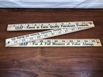 Vintage Gulf Gas & Oil Petroleum Products Advertising Folding Yard Stick