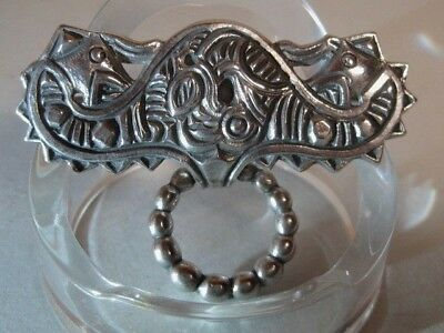 HENRIK MOLLER Trondheim Antique 830 Silver Arts & Crafts Celtic Brooch NORWAY