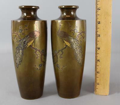 Antique Japanese Peacock Miniature Bronze Mixed Metals Gold Silver Inlaid Vases