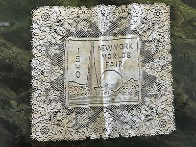 Antique Vtg 1940 New York Worlds Fair Lace Handkerchief Doilie