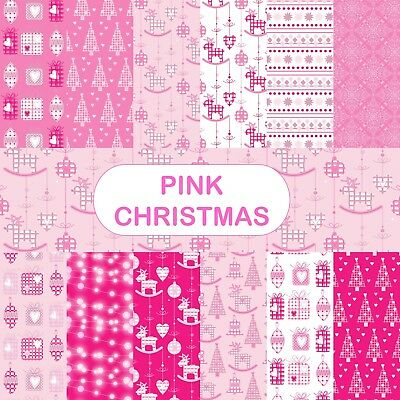 PINK CHRISTMAS SCRAPBOOK PAPER - 12 x A4 pages.
