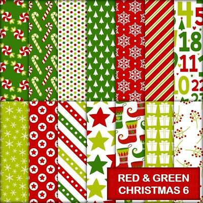 RED & GREEN CHRISTMAS 6 SCRAPBOOK PAPER - 14 x A4 pages.