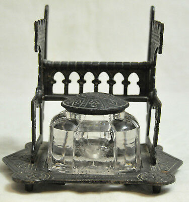 Antique Eastlake Victorian Cast Iron & Glass Inkwell & Pen Holder Gothic 1879
