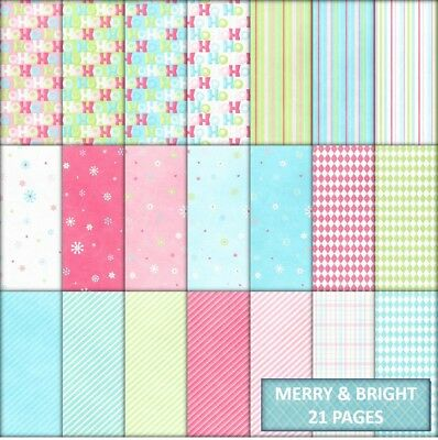MERRY & BRIGHT CHRISTMAS SCRAPBOOK PAPER - 21 x A4 pages + 2 FREE CLIPART PAGES