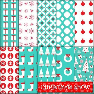 CHRISTMAS SNOW SCRAPBOOK PAPER - 10 x A4 pages.