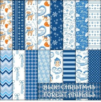 BLUE CHRISTMAS FOREST ANIMALS SCRAPBOOK PAPER - 16 x A4 pages.