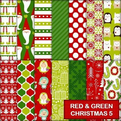 RED & GREEN CHRISTMAS 5 SCRAPBOOK PAPER - 14 x A4 pages.
