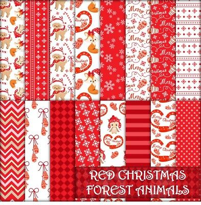 RED CHRISTMAS FOREST ANIMALS SCRAPBOOK PAPER - 16 x A4 pages.
