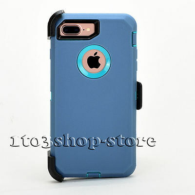 iPhone 7 Plus iPhone 8 Plus Case w/Holster Clip Fits Defender Teal Blue