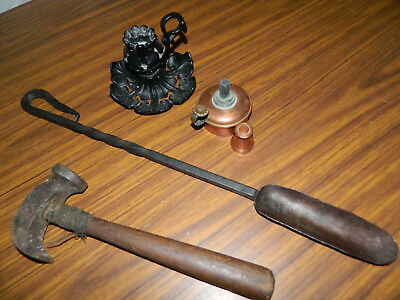Antique Vtg Wrought Iron Marrow Scoop/victorian Candle Holder/copper Oil Lamp