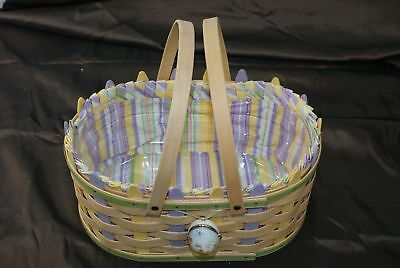 2007 Longaberger Large Picket Easter Basket Combo Protector Liner & Tie-On (500)