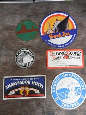 6 Vintage Travel Luggage Labels Decals Hotels New York America French Line & SF
