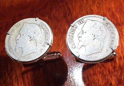 Antique French Silver 1860s Emperor Napoleon III Imperial France Coin Cufflinks!