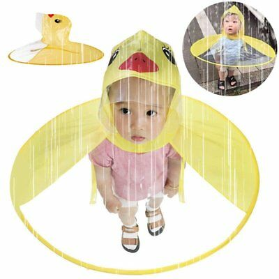 Foldable Cartoon Duck Kids Raincoat Umbrella UFO Shape Waterproof Rain Hat Cape