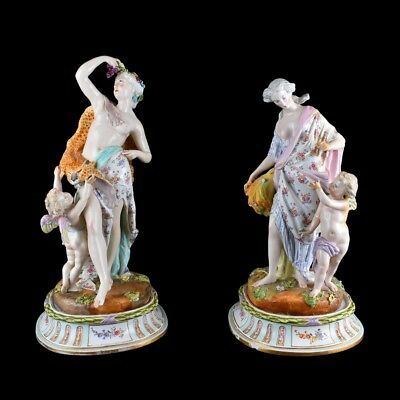 Impressive Pair of 19th C. Meissen Porcelain Figural Group on Matching Bases