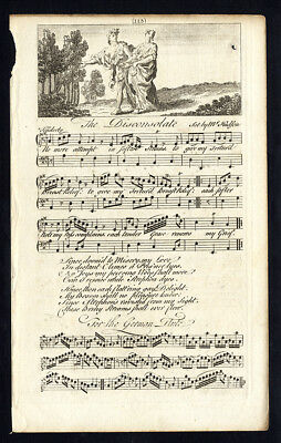 Rare Antique Print-THE DISCONSOLATE-OLD ENGLISH SONG-Hudson-Welcker-1760