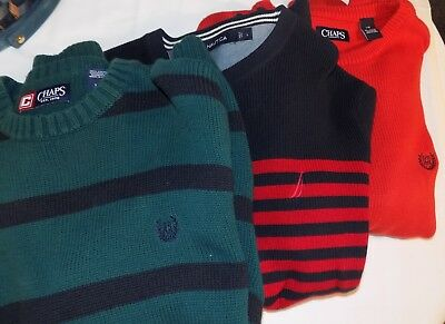 Mens Sweater Lot Chaps, Nautica L Large Solid Striped Cotton Red Green Blue Crew