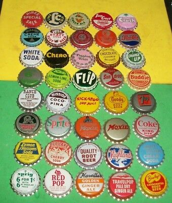 (40) Diff Unused NOS Pepsi/Donald Duck/Lime Cola/Pokagon Cork Soda Btl Caps