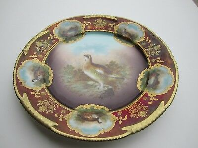 Beautiful Royal Vienna Beehive Marked Game Birds Decorated Porcelain Plate