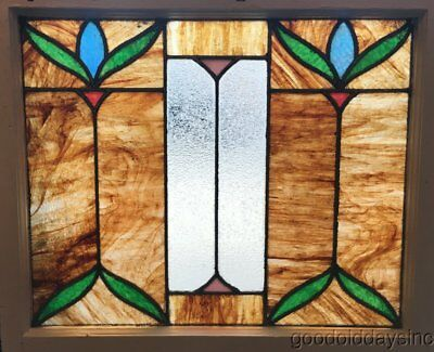 """Antique Beautiful Stained Leaded Glass Window 26"""" by 23"""""""