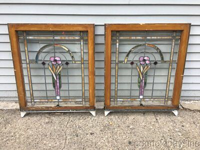 """2 Antique 1920's Bungalow Style Stained Leaded Glass Windows 32"""" by 26"""""""