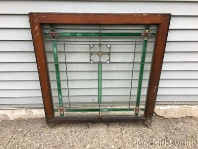 """1 Antique 1920's Chicago Bungalow Style Stained Leaded Glass Windows 32"""" by 30"""""""