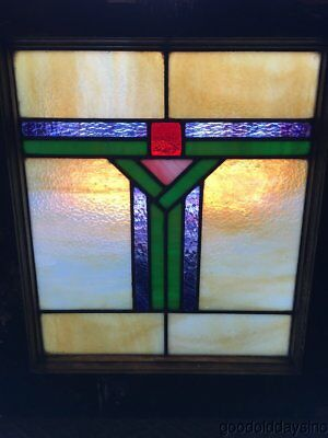 "Small Antique Stained Leaded Glass Window 21"" by 18"""