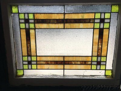"""Antique 1920's Stained Leaded Glass Window 32"""" by 25"""""""