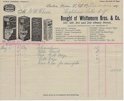 Multiple Images of Product Packages Shoe Polishes, Dressings, Whittemore Co 1903