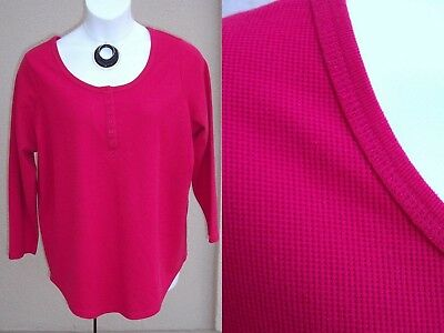Woman Within waffle knit hot top pink shirt Plus Size 1x henley thermal blouse
