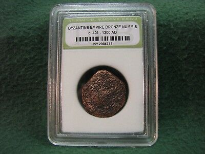 Ancient Byzantine Empire Bronze Nummis Coin   491 AD-1200 AD  AUTHENTICATED