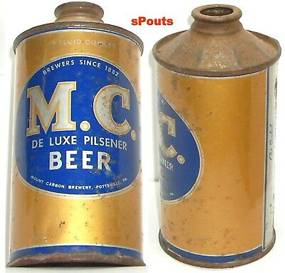 Nice M-C Deluxe Mount Carbon Cone Top Beer Can Pottsville,pa.pennsylvania Gold