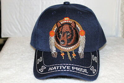 Dreamcatcher Bear Feathers Native Pride Indian Baseball Cap ( Dark Blue ) 3b7df1e16b55
