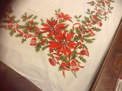 52x68  FAB VINTAGE POINSETTIA  MERRY CHRISTMAS HOLLY JINGLE BELLS TABLECLOTH