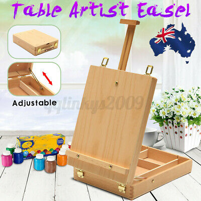 AUS Portable Folding Easel Art Drawing Painting Wood Table Desktop Box Board
