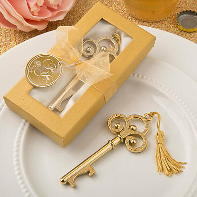 50 Gold Vintage Skeleton Key Bottle Opener wedding favors Bridal Shower Favor