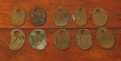 10 Vtg Authentic Brass Milk Cow Tag Numbers Bovine Country Dairy Farm 2 Sided