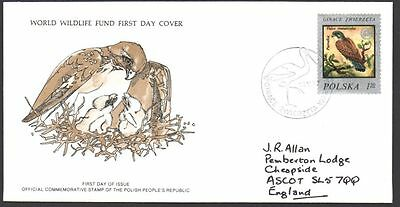 FDC - Poland, 1977 WWF, Wildlife, The Kestrel, First Day Cover