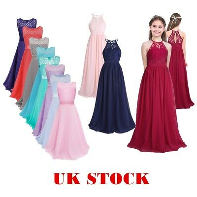 Girls Lace Long Dress Chiffon Pageant Wedding Bridesmaid Flower Kid Maxi Dresses