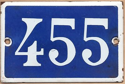 Old blue French house number 455 door gate plate plaque enamel steel metal sign