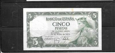 SPAIN SPANISH #146a 1954 5 PESETAS VG CIRC OLD BANKNOTE PAPER MONEY BILL NOTE