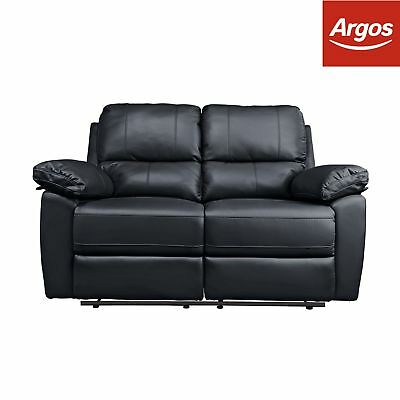 Argos Home Toby 2 Seater Faux Leather Recliner Sofa - Black.
