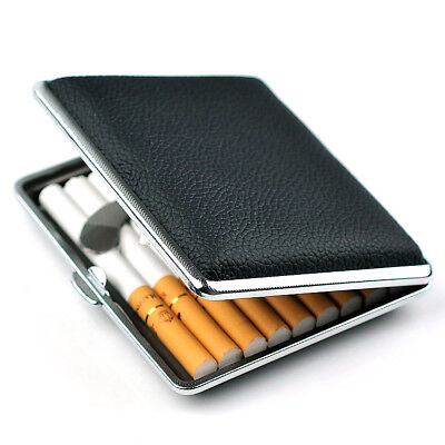SAN New Metal Tobacco Pocket 20 Cigarette Case Black Leather Smoke Holder Box