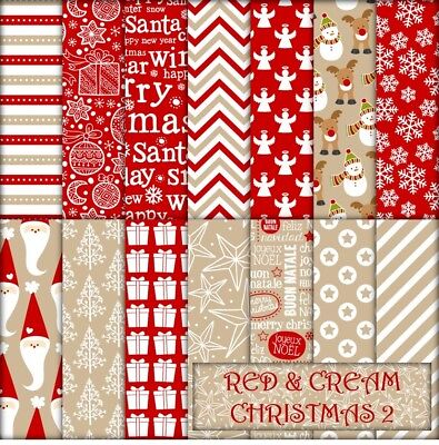RED & CREAM CHRISTMAS 2 SCRAPBOOK PAPER - 14 x A4 pages.