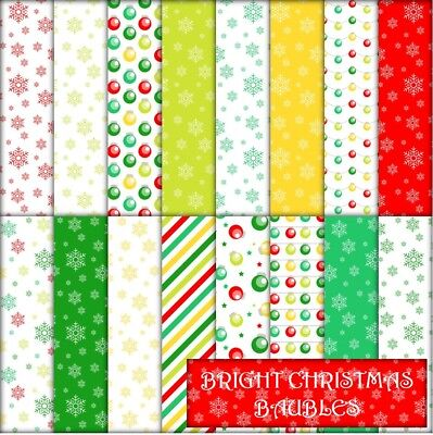BRIGHT CHRISTMAS BAUBLES SCRAPBOOK PAPER - 16 x A4 pages.