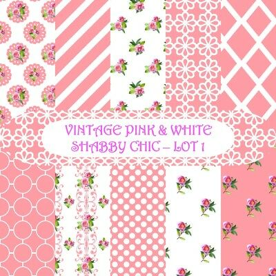 VINTAGE PINK & WHITE SHABBY CHIC 1 SCRAPBOOK PAPER - 10 x A4 pages