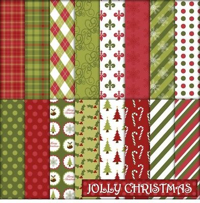 JOLLY CHRISTMAS SCRAPBOOK PAPER - 16 x A4 pages.